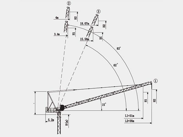luffing jib tower crane  qtz63 3615  manufacturer