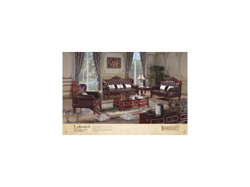 B186B Wood Frame Leather Sofa