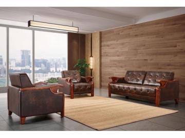 Antique Wood Frame Leather Sofa Set