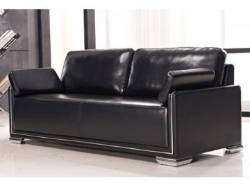 Reception Black Leather Sofa