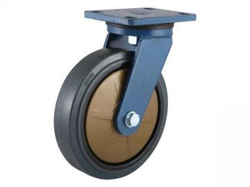 250~400kg Nylon core super muting rubber Wheel Caster