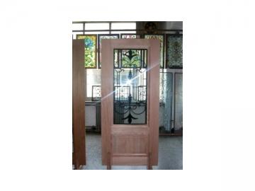 Wood Frame Iron Decor Glass Door
