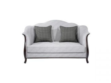 Cherry Wood Frame Fabric Sofa & Couch