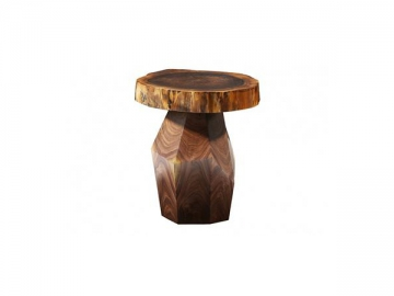 Round Walnut Wood Side Table