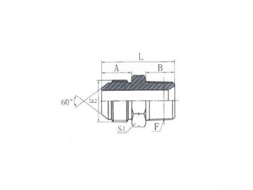 1ST BSPT Male 60˚ Cone Hose Adapter, JIS Standard