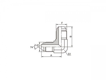 1J9 JIC Male 74˚ Cone Hose Adapter, 90˚ Elbow