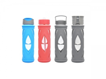 Glass Water Bottle with Silicone Cover