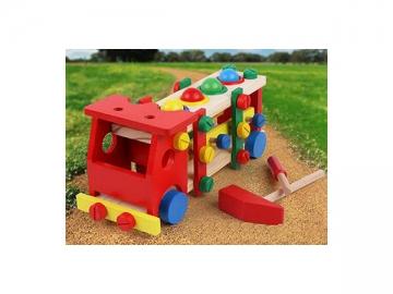 DIY Assemble Wooden Truck School Bus Block
