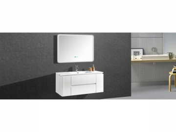 IL1910 Floating Single Vanity with Lighted Wall Mirror