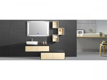 IL1971 Stylish Off-White Bathroom Vanity Unit with LED Lighted Mirror