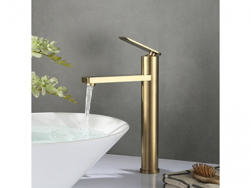 Single handle tall vessel sink faucet in brushed gold finish  SW-BFS012(2)