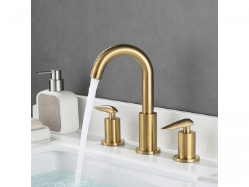 Brushed gold 3 holes widespread basin faucet  SW-BFL002
