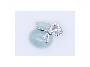 Jade Stone Pendant Hand Wrapped in Silver, Fashion Pendant Jewelry