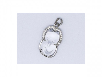 Transparent Fox Pendant, Wrapped by Sterling Silver, Inlayed in Inlayed With Shining Zircon Diamond